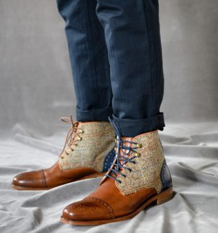 harris scotland laceup boots for men handmade in portugal in cognac leather and harris tweed