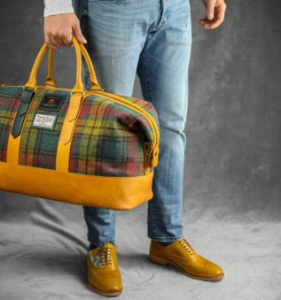 Ancient Weekender with harris tweed form the outer hebrides