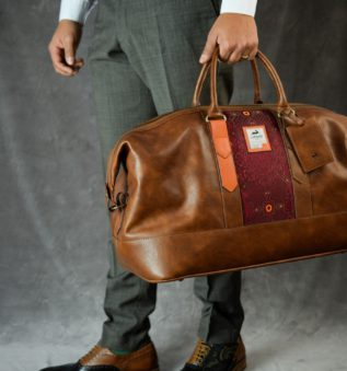 Cognac Weekender in cognac leather perfect for business attire