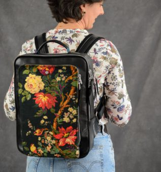 Oasis Woman backpack in black leather and floral print from liberty london