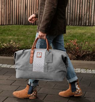 Snowfall Weekender made in elegant grey leather for a casual look