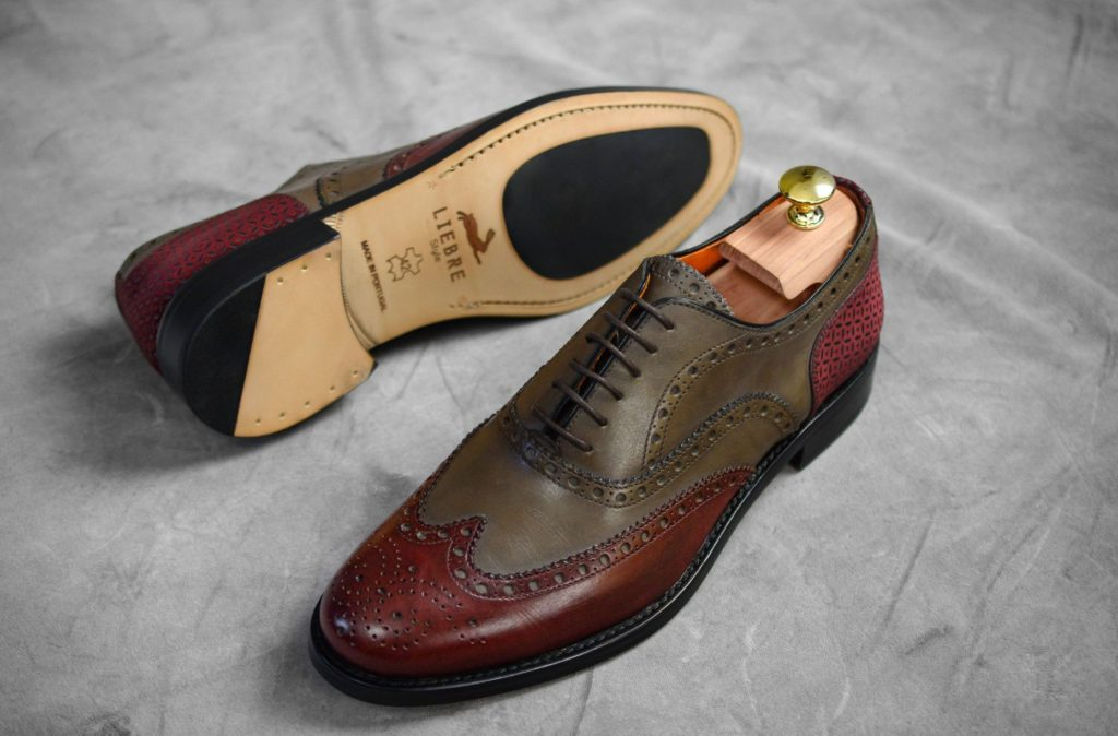 crimson italy man shoes with shoe tree by liebre style