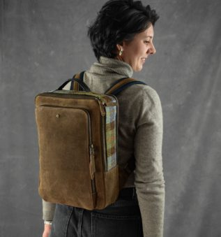 computer back for women with harris tweed and brown leather
