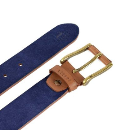 lombardy leather belt adjustable in blue suede and bronze buckle