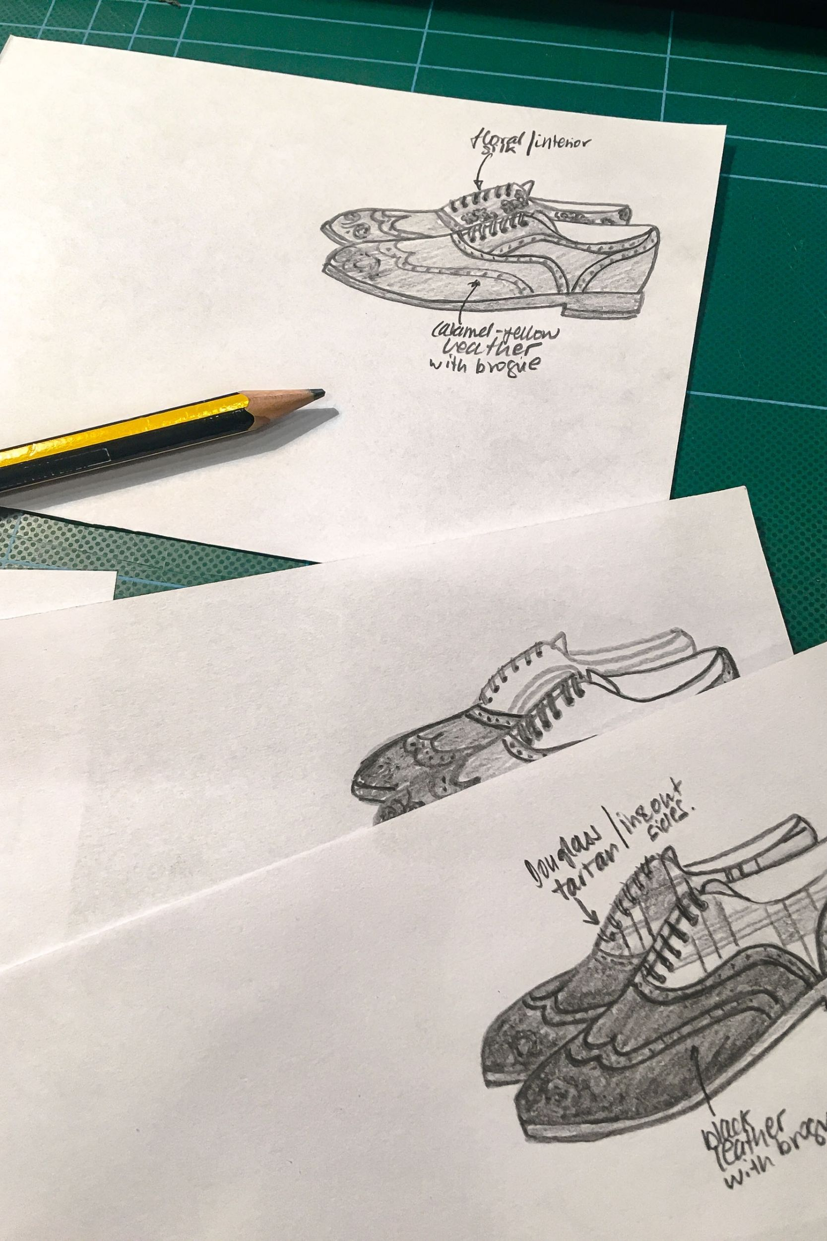 sketches of shoe designs by liebre style