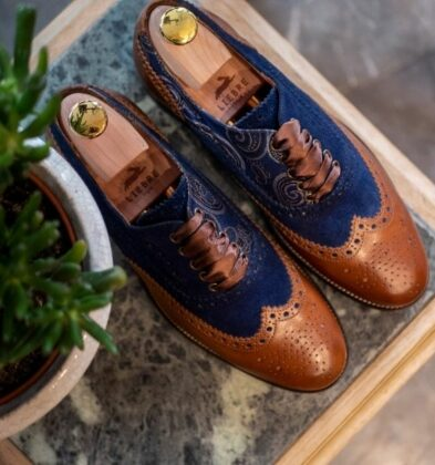 cognac handmade travel bag in brown leather and mongolian silk woman