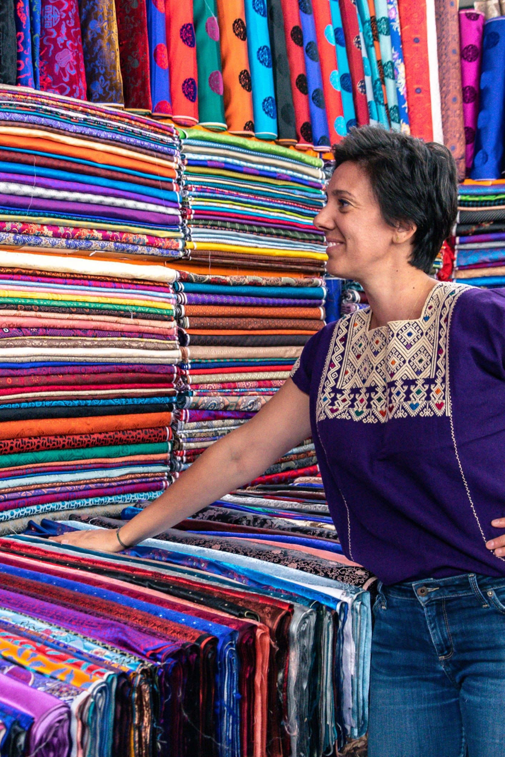 elena selecting textiles in mongolia for her new collection of limited edition shoes and bags
