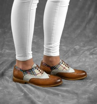 women shoes for spring handmade in cognac and white leather